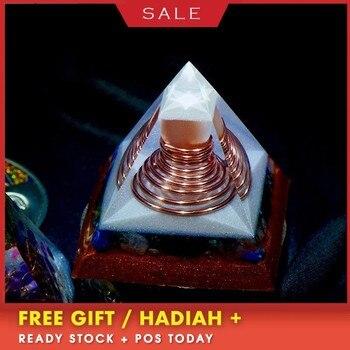 AURA REIKI Orgonite Six-pointed Reiki Pyramid Change Family Contradiction Bring Lucky Crystal Resin Pyramid Chakra Decoration