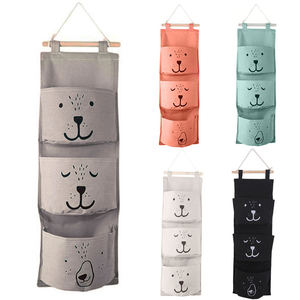 3 Pockets Cute Wall Mounted Storage Bag Closet Organizer Clothes Hanging Storage Bag Children Room Pouch Home Decor(China)