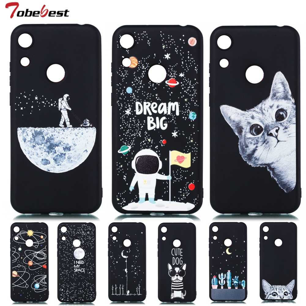 Honor 8A Case for Huawei Honor 8A 8 A Case Cover Silicone 3D Painted Matte Starry Sky Universe Cat Ultra Thin Black Soft Cover