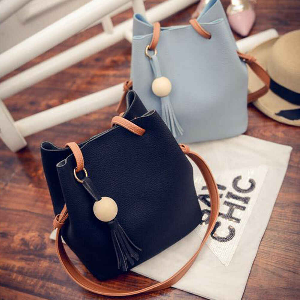 2 stuks Dames PU Leather Tote Shoulder Purse Shopper Clutch Bag