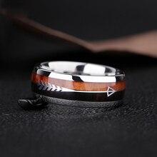 2019 nuevos anillos de carburo de tungsteno de 8mm para hombres y mujeres bandas de boda Koa Flecha de madera incrustación de meteorito joyería para caza ajuste cómodo