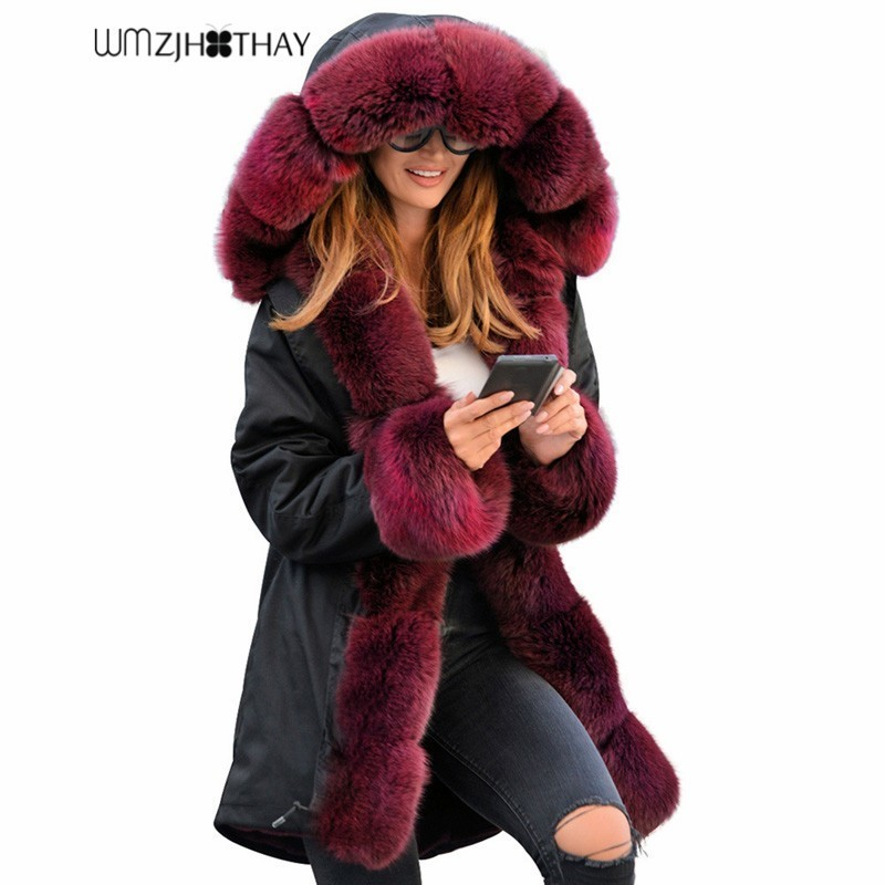 2019 Winter Women Cotton Wadded Jacket Fashion Imitation Raccoon Big Fur Collar Coat Casual Warm Hooded   Parkas   Female Outerwear
