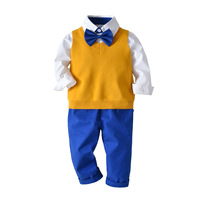Children Clothing Set Kids Baby Boy Suit Gentleman Wedding Formal Autumn Vest Tie Shirt Pant 4pcs Clothes Sets H396