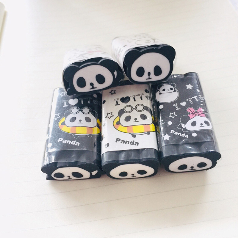 1PC Kawaii Pencil Erasers Cute Panda Erasers  Cartoon Correction Erasers For Kids Gift School Office Supplies Stationery