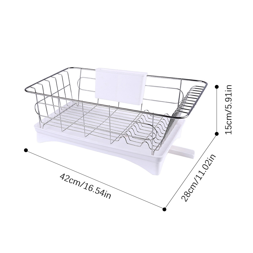 Image 4 - Stainless Steel Dish Drainer Drying Rack With 3 Piece Set Removable Rust Proof Utensil Holde For Kitchen Counter Storage Rack-in Racks & Holders from Home & Garden