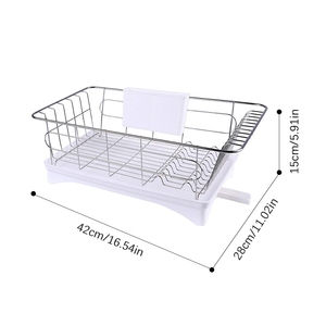 Image 4 - Stainless Steel Dish Drainer Drying Rack With 3 Piece Set Removable Rust Proof Utensil Holde For Kitchen Counter Storage Rack