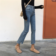 Spring Summer High Waist Skinny Flare Jeans Woman Ripped Blue Stretch Mom Jeans Ladies Jeans Pants Women Jeans Femme Mujer high waist skinny flare jeans
