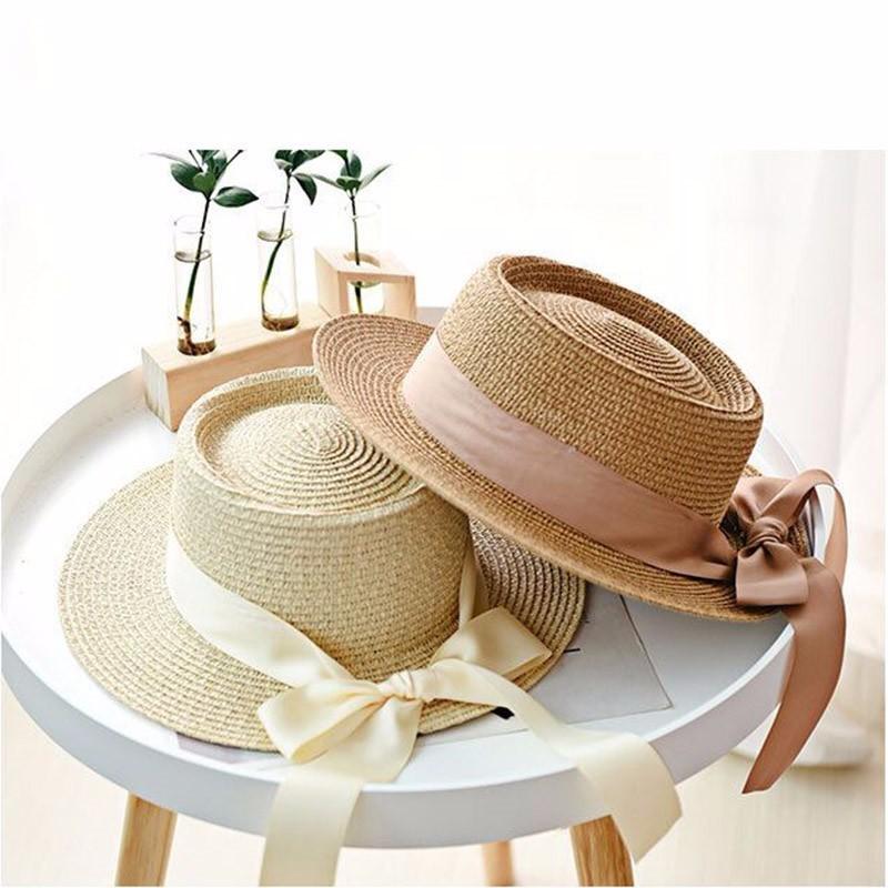 England Retro Arc Broad Brimmed Summer Sun Hat Female Beach Straw Hat Visor Cap Summer Hats Caps Chapeau Women Femme Sun V