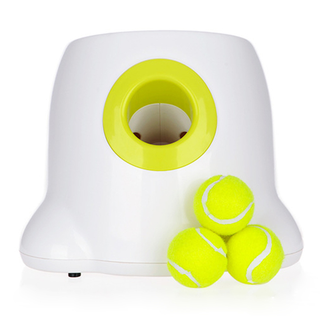 Dog Pet Toys Tennis Launcher Automatic Throwing Machine Pet Ball Throw Device Section Emission With 3 Balls Us Plug