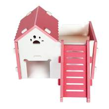 1pcs Luxurious Hamster House Swing Toy Slide Hamsters Nest Loft Bed Cage Nest Pet Hedgehog Castle Climb Toys Small Wooden Toys(China)