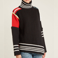2018 Winter Fashion Leopard Patchwork Turtleneck Women Sweater Pullovers Runway Designer Female Sweater Jumper Clothing