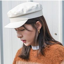 Hats Top-Caps Military Autumn Flat Real-Leather Women's New Winter Spring Sunshade Goatskin