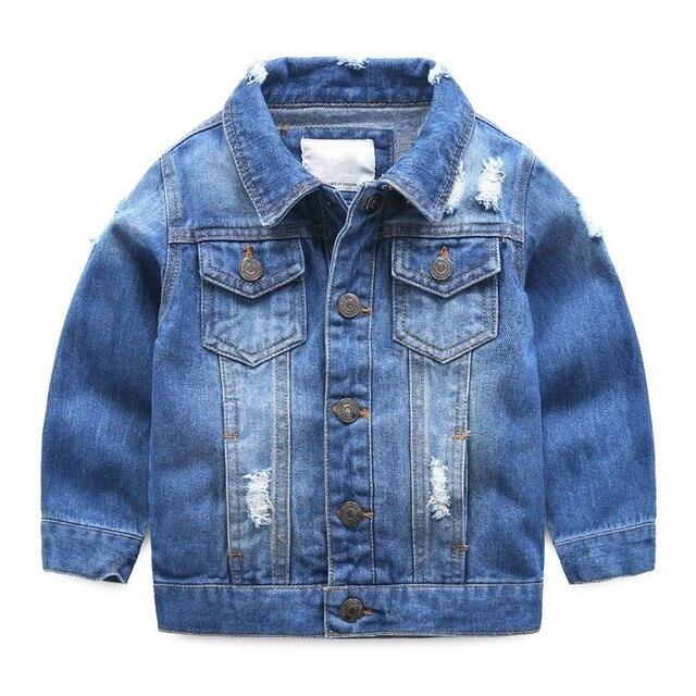 Toddler Trai Denim Áo Khoác Trẻ Em Quần Áo Mùa Xuân 2019 Trẻ Em Lần Lượt Xuống Cổ Áo Coat Jaqueta Jeans Infantil Menino Manteau Garcon