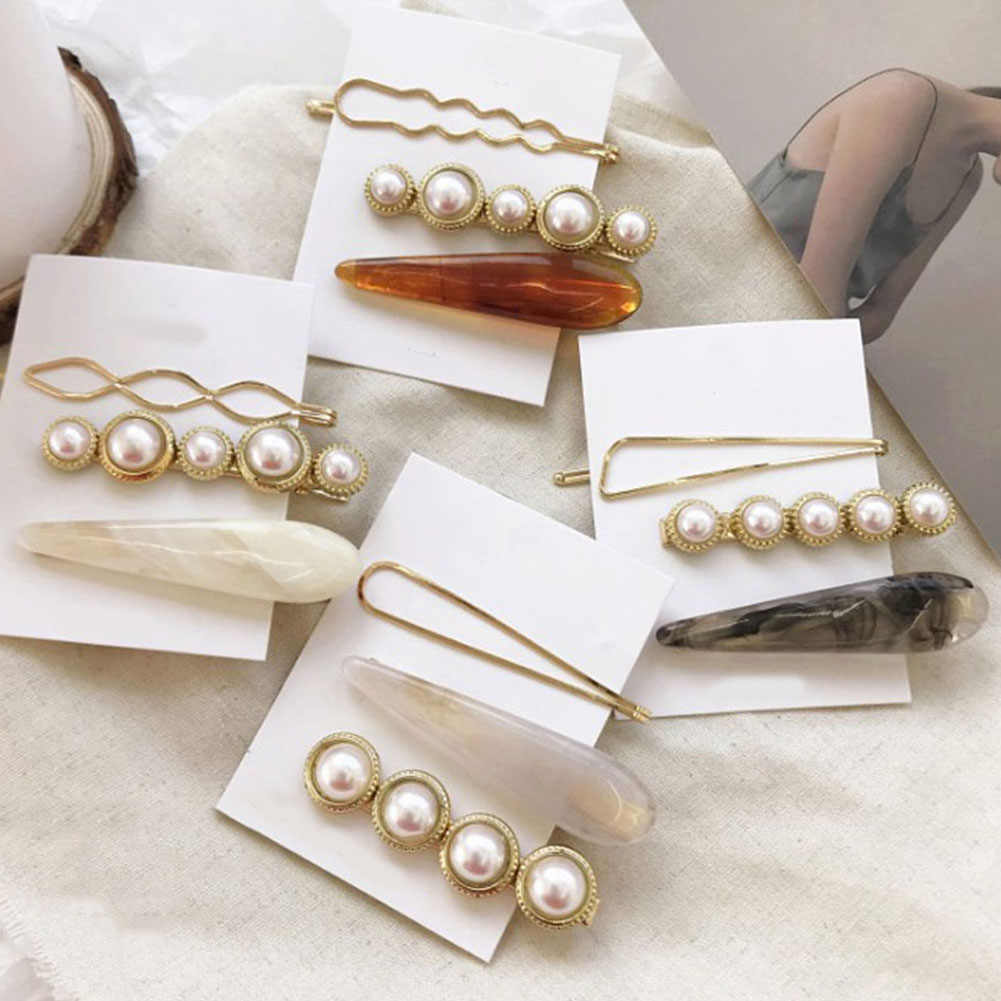 3Pcs/Set Women's Sweet Combination Pearl Marble Hairpins Styling Side Clips Bobby Pins Barrette Hair Accessories For Girls Gifts