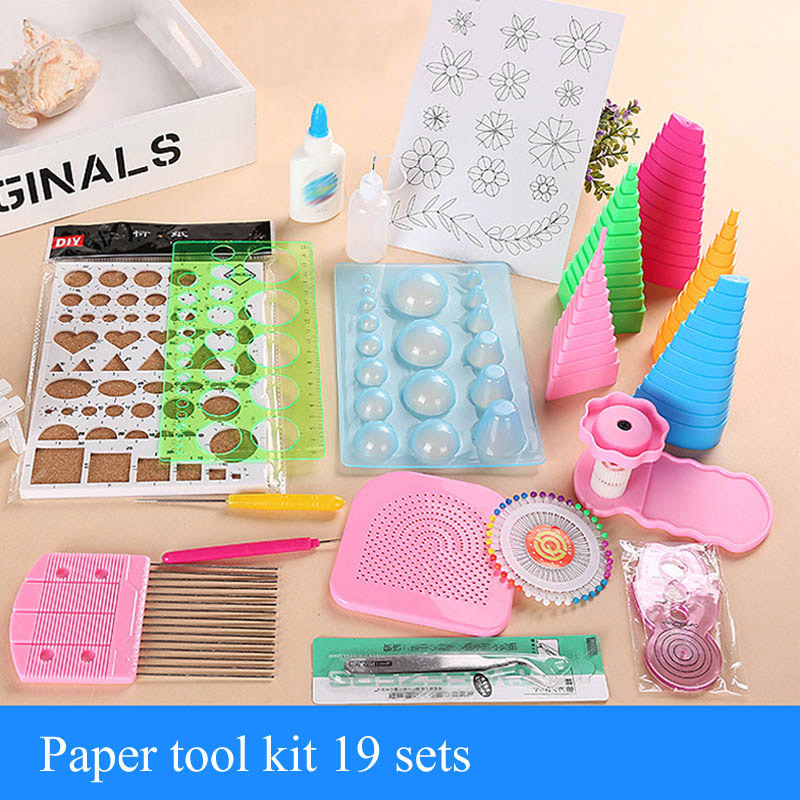 1 Set Roll Paper Paste Tool Quilling Paper Craft Rolling Kit Slotted Tools Childrens Fun Puzzle Paper Kit