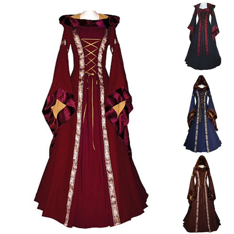 Autumn Winter Women Vintage Dress Holloween Cosplay Costume Lace Up Retro Gown Medieval Renaissance Long Dress