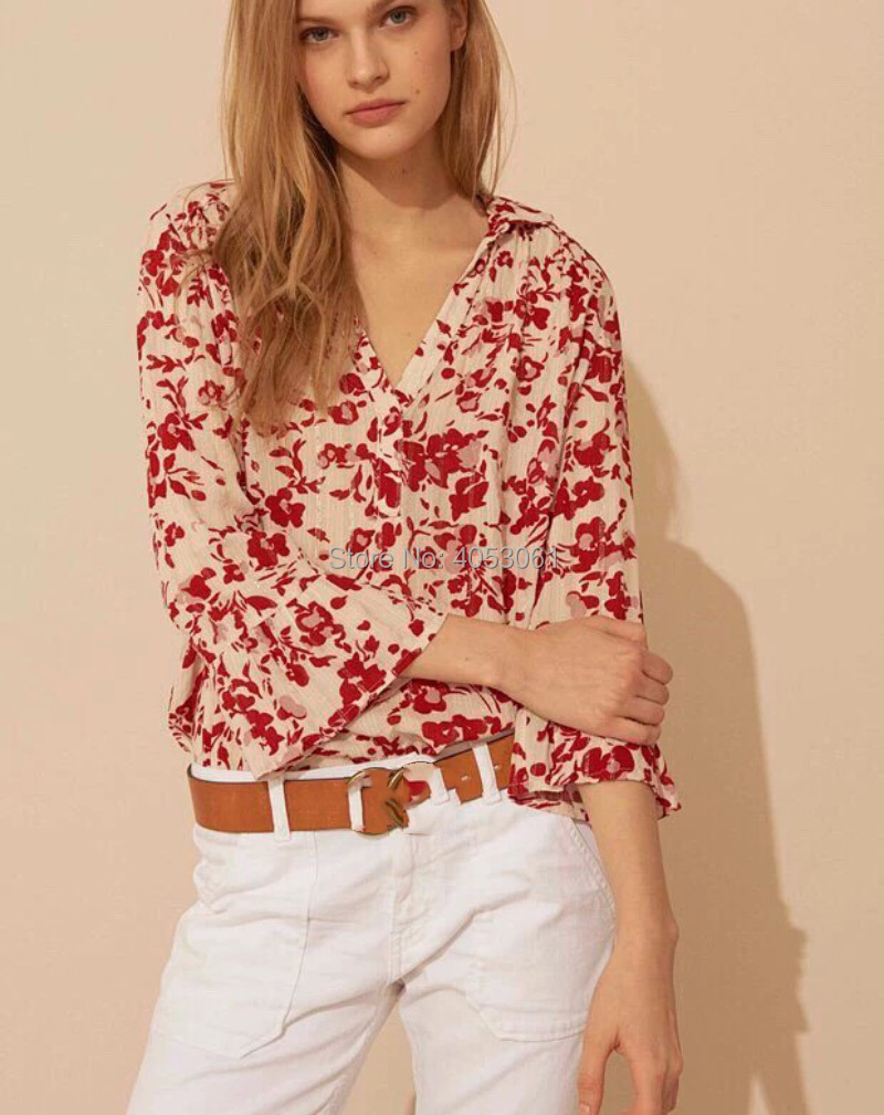 Floral Print Blouse Top Match With Slip Top Features Shimmer Thread Detail