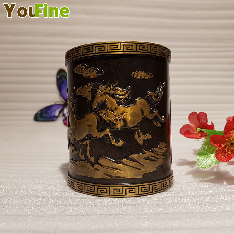 Vintage Chinese style bronze pen holder embossed eight horses animal decoration desktop pen storage ornaments in Home Office Storage from Home Garden