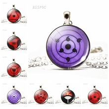 Rinnegan Eyes Naruto Jewelry Necklace Sharingan Eye Black Leather Pendant Uchiha Uzumaki Clan Logo Anime Cosplay Lover Gift(China)