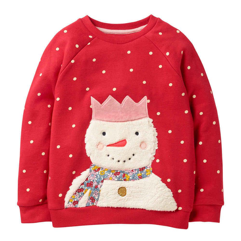 Littlemandy בנות סוודר שלג חם תינוק בנות ילדי חולצה ארוך שרוול צמרות 100% כותנה 2019 מותג חורף בנות בגדים