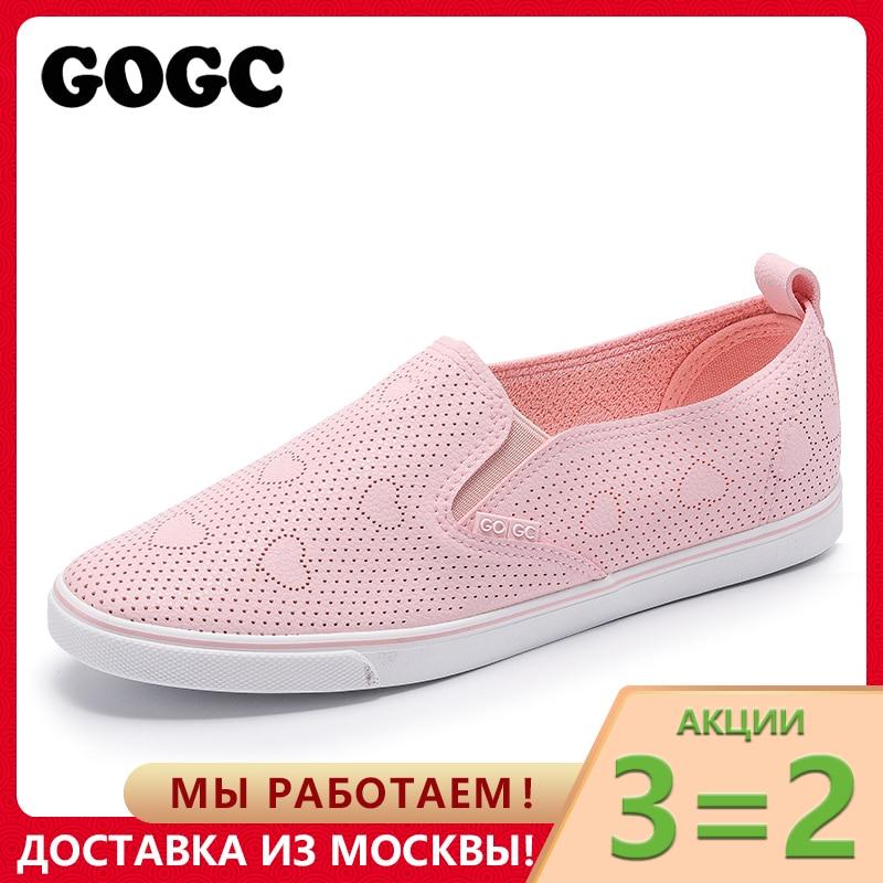 GOGC Slipony Frauen Schuhe mit Loch Atmungsaktive Frauen Flache Schuhe Frauen Turnschuhe Sommer Autunm Damen Leder Schuhe schuhe G935