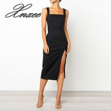 2020 New Fashion solid color sling open-forked casual dress women sleeveless ank