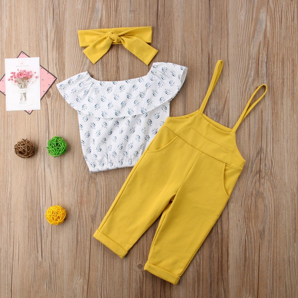 Girls Summer Clothes Sleeveless Tassels Ruffle Romper+Flora Shorts Baby Set