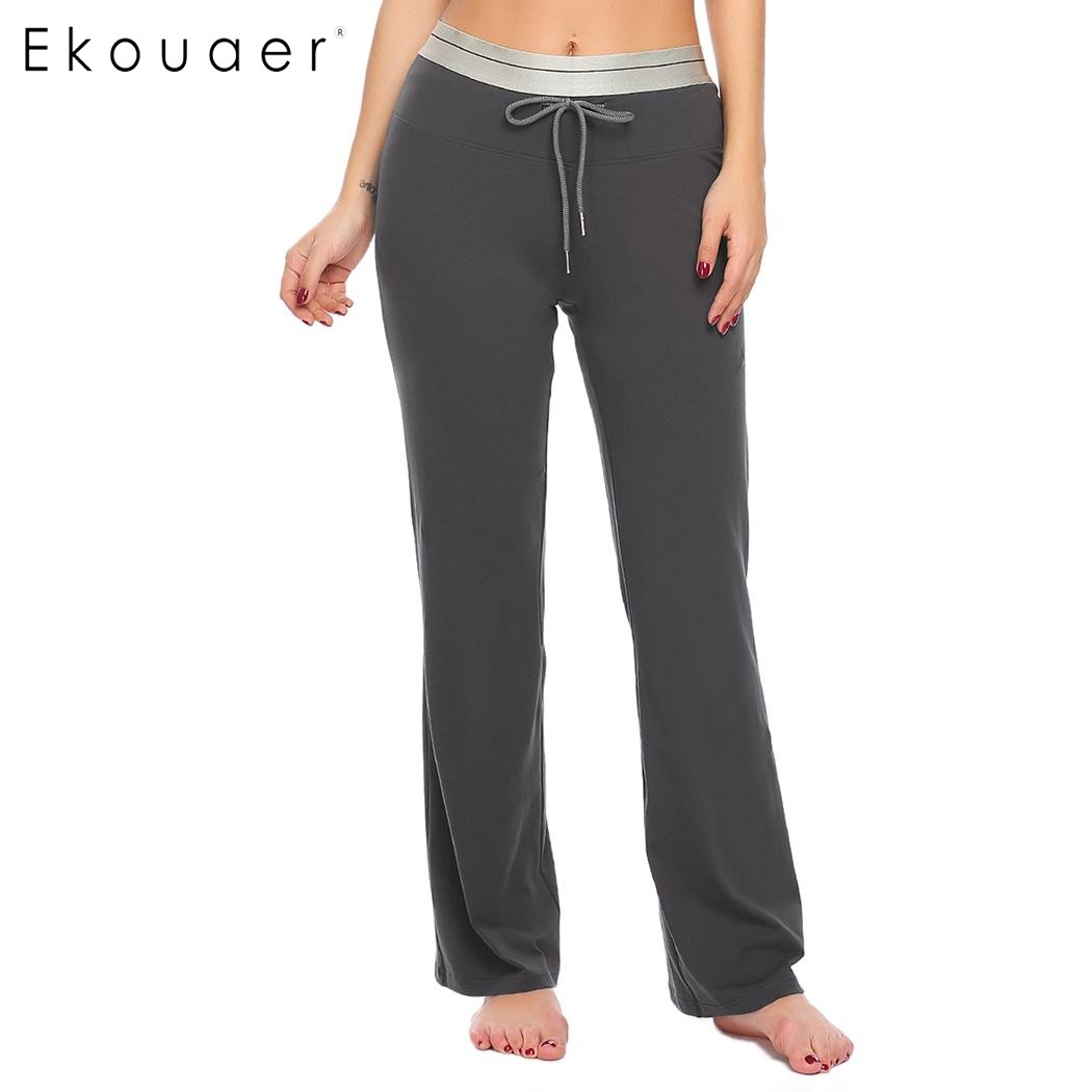 Ekouaer Women Cotton Casual Sleep Bottoms Soft Pant Elastic Drawstring Waist Solid Pajama Lounge Pants Loose Female Pants