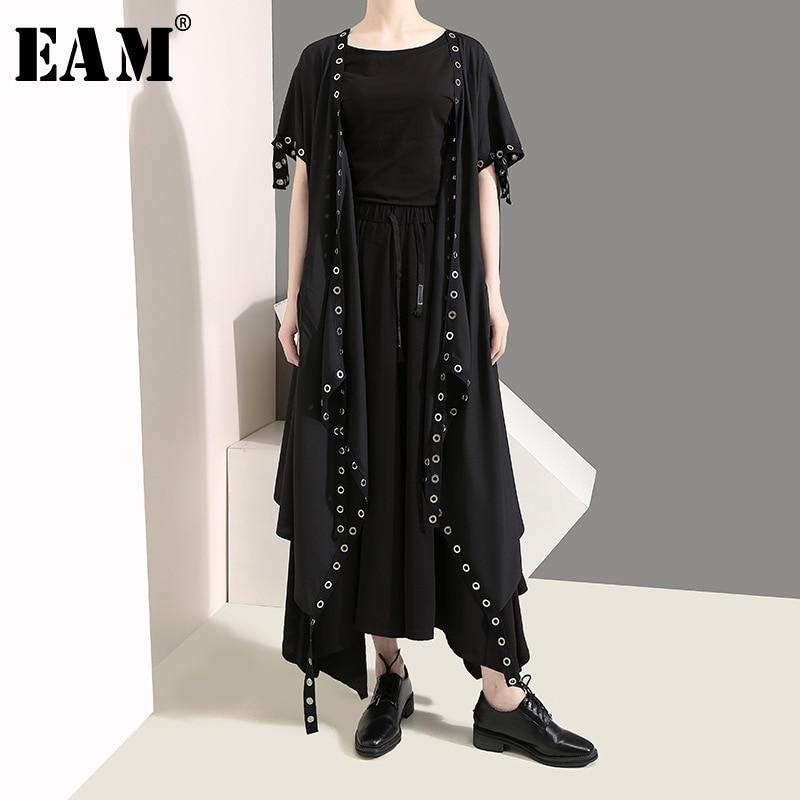 [EAM] 2019 New Summer V-collar Short Sleeve Balck Ribbon Fold Loose Big Size Long Windbreaker Women   Trench   Fashion Tide JU318