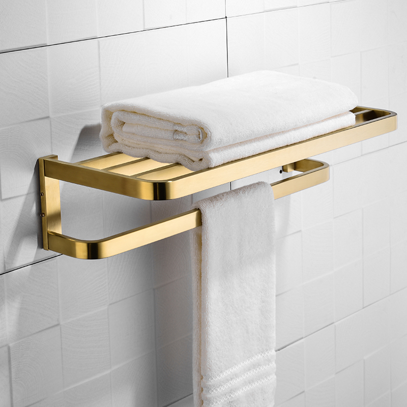 Bathroom Shelf 2 Tier Brushed Gold Towel Rack Wall Mounted Towel Bar Clothes Hanger Luxury Square Style Gold ColorBathroom Shelf 2 Tier Brushed Gold Towel Rack Wall Mounted Towel Bar Clothes Hanger Luxury Square Style Gold Color