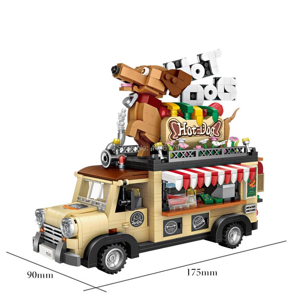 hot LegoINGlys technic vehicles creators Hot Dog Carts micro diamond building blocks Food Truck Car model figure brick toys gift
