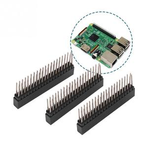 3pcs 2 x 20 Pins Female Pin Header 2.54m Pitch Extra Tall Female Dual Row Short Pin Headers PCB Connector Strip for Raspberry Pi