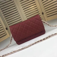 Leather woman bag woc Caviar Classic oblique carry diamond chain 33814 woman bag