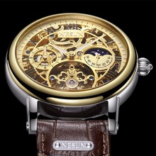 цена на NESUN Men's Watch Luxury Brand Automatic Mechanical Watches Men relogio masculino Multi-functional Dial Skeleton clock N9097-3