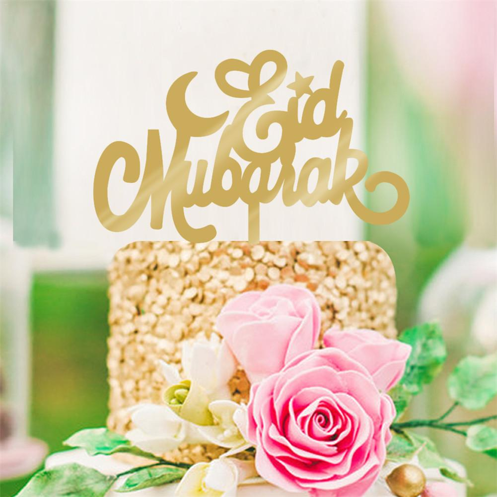Cake Toppers Eid Mubarak Wedding Baby Shower Birthday Party Ramadan Decor Gold Black Cupcake Topper Muslim Baking image
