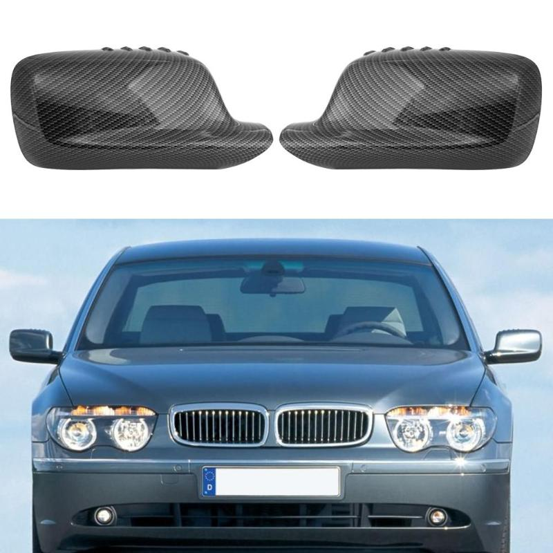 VODOOL 2Pcs Carbon Fiber Pattern Car Door Rear View Mirror Cover Exterior Side Wing Mirror Caps