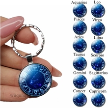 12 Zodiac Sign Keychain Silver Key Chain Rings Glass Cabochon Jewelry Constellations Planet Pendant Keyrings Birthday Gifts