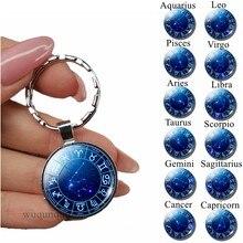 1da6c3117d43 12 Zodiaco signo llavero plata llavero anillos cristal cabujón joyería  constelaciones planeta colgante llaveros cumpleaños regalos