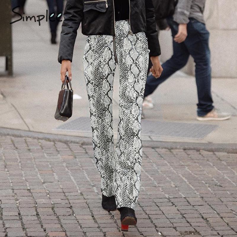 Simplee Fashion high waist snake print women pants capris Snakeskin casual zipper ladies trousers Party club PU pants 2019