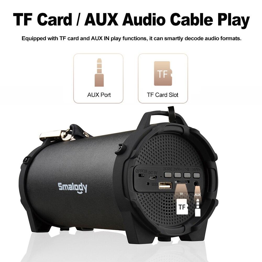 Smalody Sl-10 Wireless Bluetooth Speaker Outdoor Soundbox 10w Stereo Bass Subwoofer Fm Radio Tf U Drive Aux W/ Mic Webbing Strap Pretty And Colorful