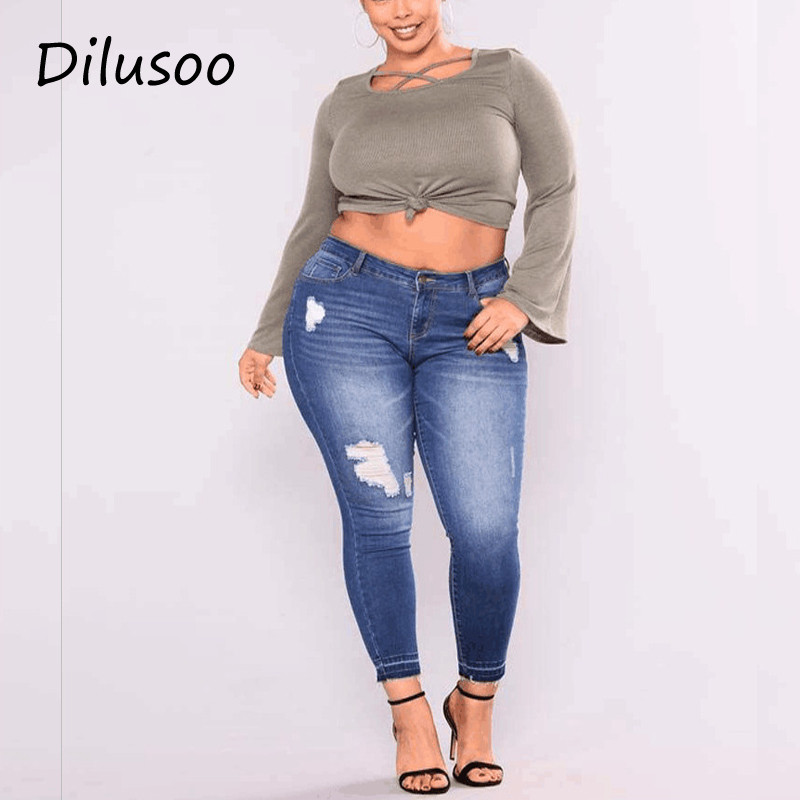 Dilusoo Women Ripped Plus Size Jeans Pants Skinny Elastic Pencil Pants Europe Woman Casual Jeans Spring Size2-7XL Trousers 2019