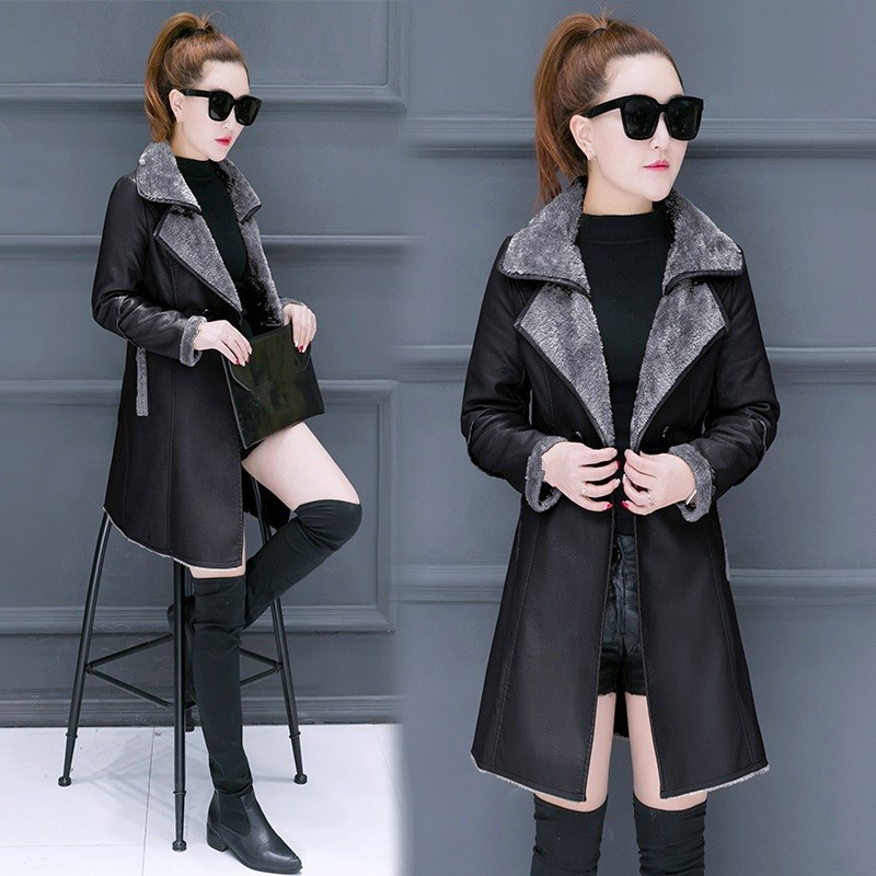 Women Lambs Wool Coat Female Medium Long Thick Warm Shearling Coats Autumn Winter Female   Leather   Jackets