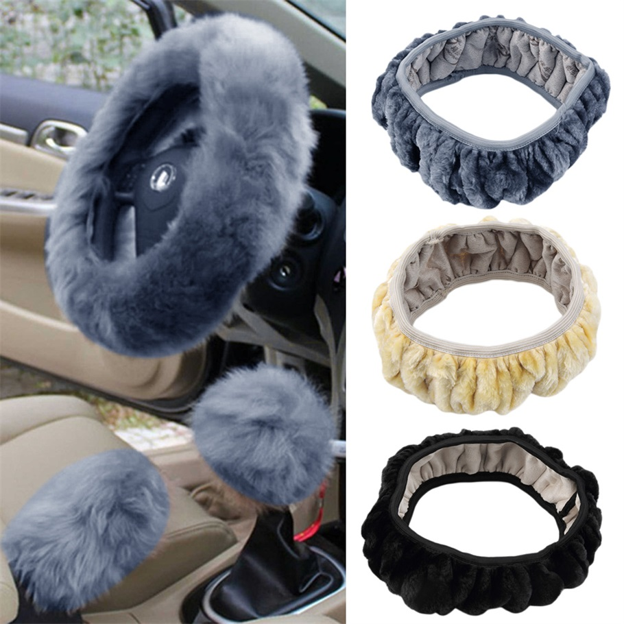 General Car styling Charm Warm Long Wool Plush Steering Wheel Cover for Car Handbrake Accessory for Diameter 36 38cm Hot Selling Steering Covers    - AliExpress