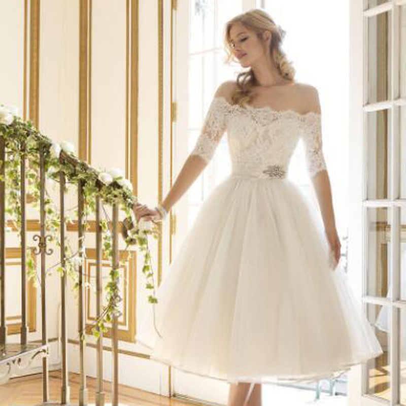 172e40f0a7 ... Ball Gown Tea Length Wedding Dresses Elegant Half Sleeve Lace Off  Shoulder Cheap Tulle Dress for Special Occasion Dresses. 30% OFF. Previous