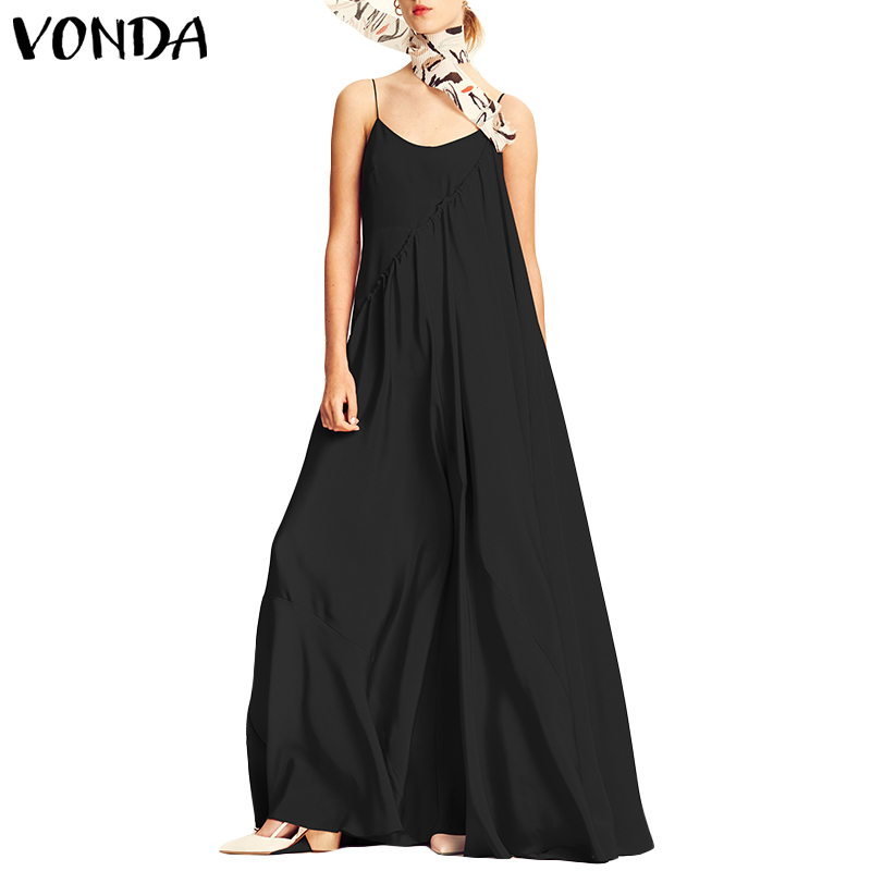 VONDA Women Dress 2019 Summer Beach Sexy Spaghetti Strap Sleeveless Long Maxi Dresses Casual Loose Plus Size Vestidos