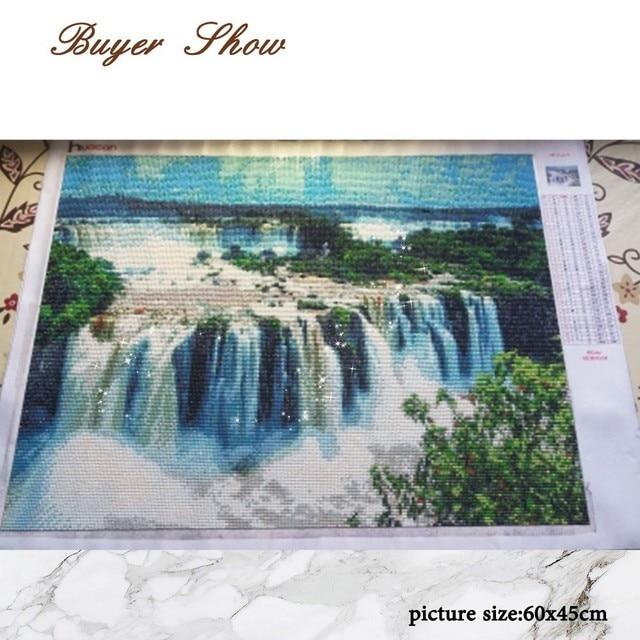 HUACAN 5D Diamond Painting Landscape Full Round Diamond Embroidery Waterfall Rhinestone Mosaic Needlework Handmade Kit