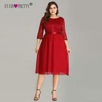 Ever Pretty Burgundy Plus Size Cocktail Dresses EZ07641 Women's Elegant Half Sleeve Lace A line Knee Length Elegant Party Gowns