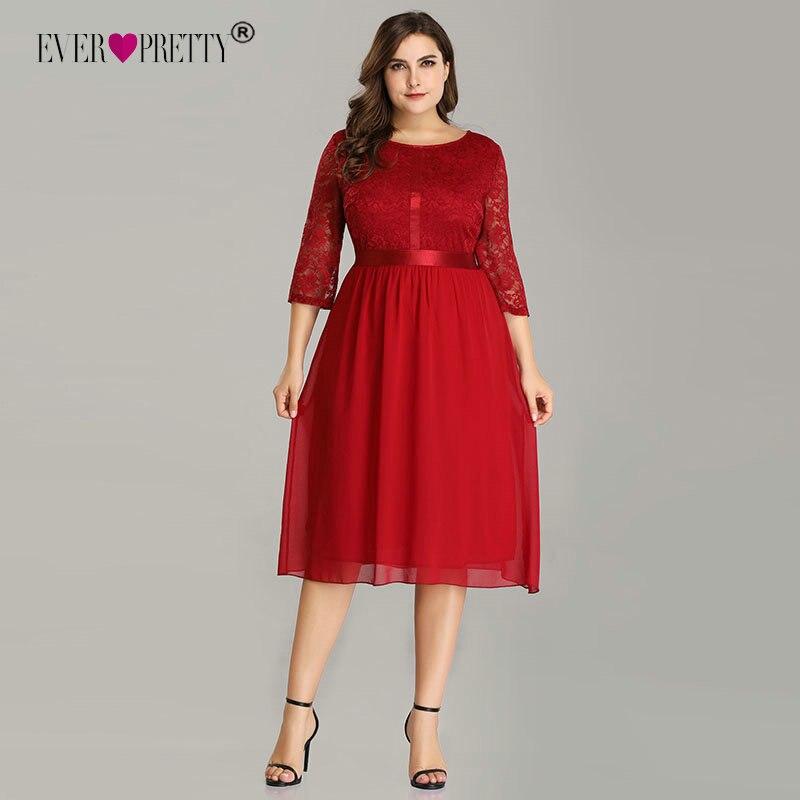 Immer Ziemlich Burgund Plus Größe Cocktail Kleider EZ07641 Frauen Elegante Halbe Hülse der Spitze A-linie Knie Länge Elegante Party Kleider