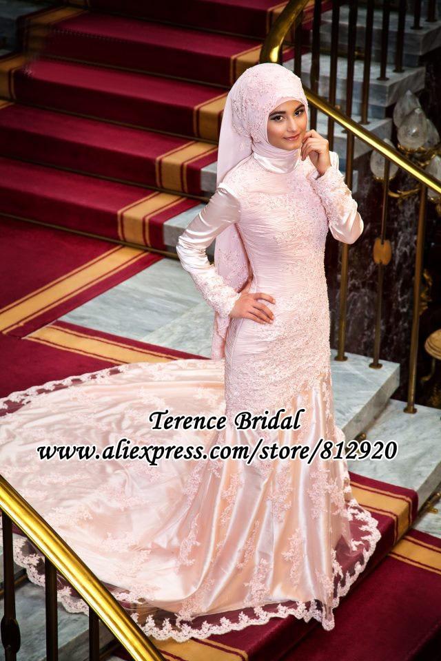 Pink Colored High Neck Hijab Veil Long Sleeve Mermaid Muslim Wedding ...