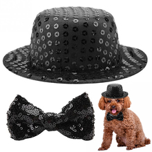 Pet Dog Festival Party Black Sequins Top Hat Bow Tie Decoration Set Pet Bowtie Fashion Sequin Adjustable Dog Bow Tie With Hat pinstriped bow tie detail top